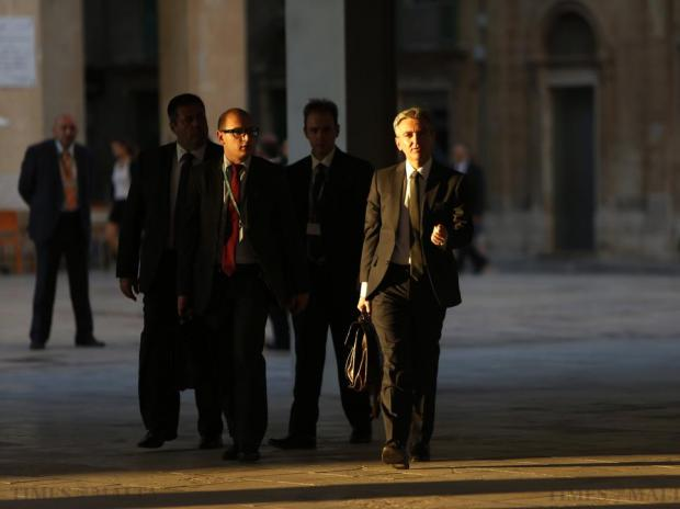 Opposition and Nationalist Party leader Simon Busuttil (right) arrives at Parliament House for the government's presentation of the Budget 2016 speech in Valletta on October 12. Photo: Darrin Zammit Lupi