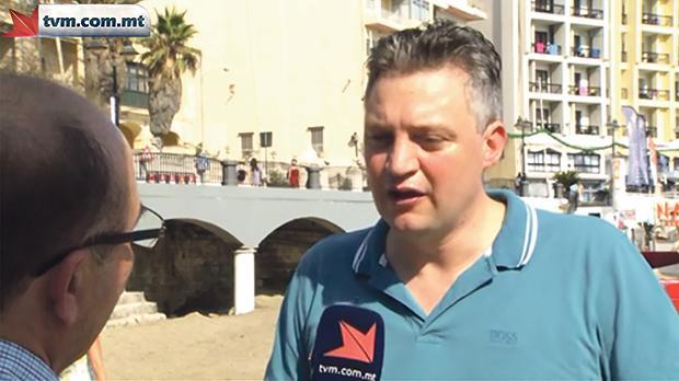 Konrad Mizzi being interviewed by TVM.