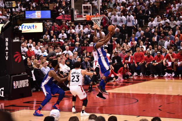 Jimmy Butler #23 of the Philadelphia 76ers shoots the ball against the Toronto Raptors.