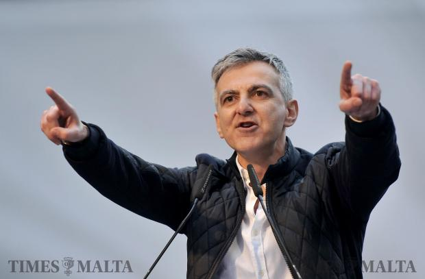 PN leader Simon Busuttil addresses the crowd at the Demonstration against corruption in Valletta on February 19. Photo: Chris Sant Fournier