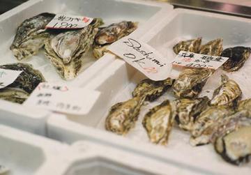 Oysters at daybreak at Tsukiji.