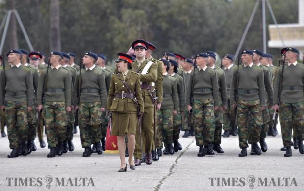 New Armed Forces of Malta recruits look to their right whilst marching at a passing out parade in Luqa on February 15. Photo: Mark Zammit Cordina