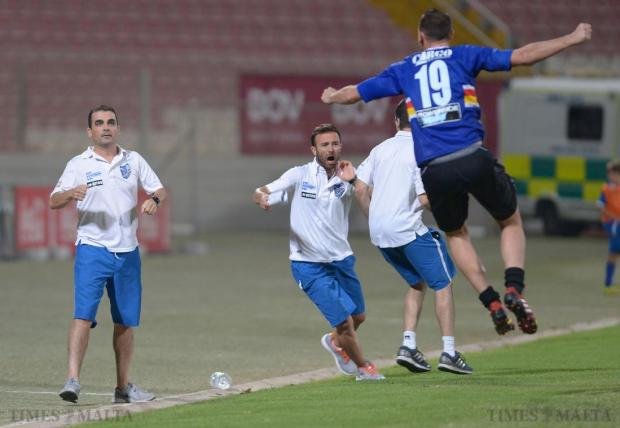 Tarxien coaching staff celebrate after scoring a goal during their 3-1 win over Birkirkara at the Ta'Qali National Stadium on October 2. Photo: Matthew Mirabelli