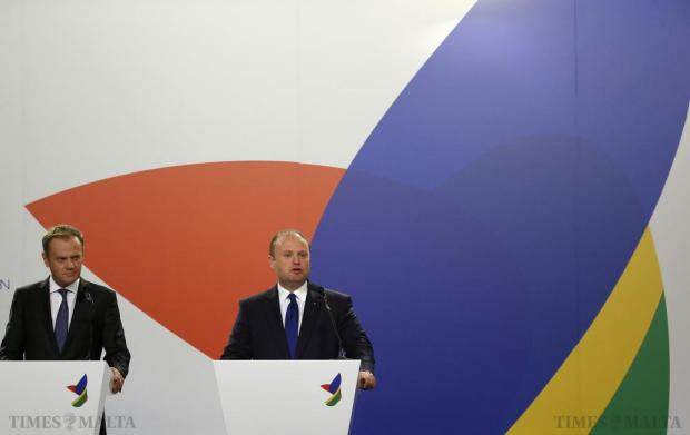 European Council President Donald Tusk (left) and Maltese Prime Minister Joseph Muscat address a joint press conference with President Macky Sall of Senegal (not pictured) at the end of the Valletta Summit on Migration in Valletta on November 12. Photo: Darrin Zammit Lupi