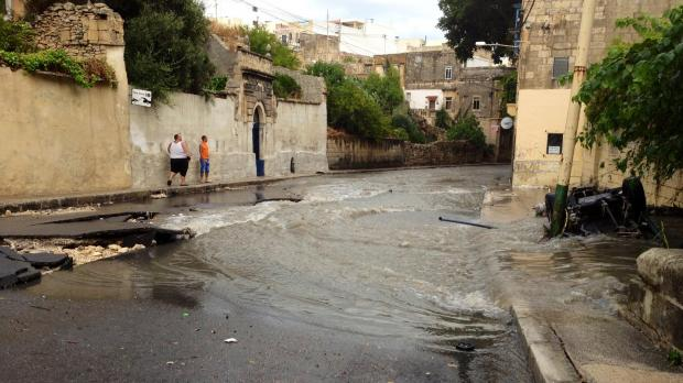 Damage to Valley Road. Photo - Diane Pillow - mynews@timesofmalta.com