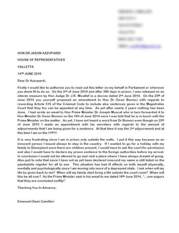 The letter Dr Azzopardi read in parliament.
