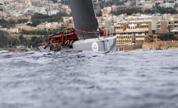 "The yacht ""Momo"" of Germany competes in the annual Rolex Middle Sea Race off Valletta on October 17. Over 100 yachts from 22 different countries competed in the 608 nautical mile Mediterranean classic, which takes the yachts from Malta, around Sicily and back. Photo: Darrin Zammit Lupi"