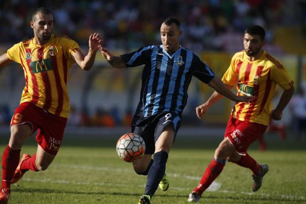 Sliema Wanderers' Michael Mifsud (centre) makes his way through Birkirkara's Joseph Zerafa (left) and Zach Muscat (right) during their Premier League football match at the National Stadium in Ta' Qali on October 18. Photo: Darrin Zammit Lupi