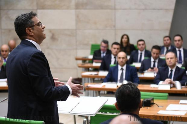 Opposition leader Adrian Delia delivers his speech in Parliament on October 18. Photo: Jonathan Borg