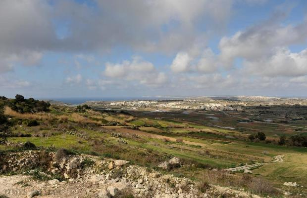 A panoramic view from Dwejra with the town of Mgarr and the Gozo cliffs in the distance on February 3. Photo: Chris Sant Fournier