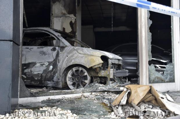 Considerable damage was caused when a vehicle caught fire inside the Premiere Car Showroom, in Mosta in the early hours of January 15. Civil Protection Department personnel were summoned to put out the fire. Photo: Mark Zammit Cordina