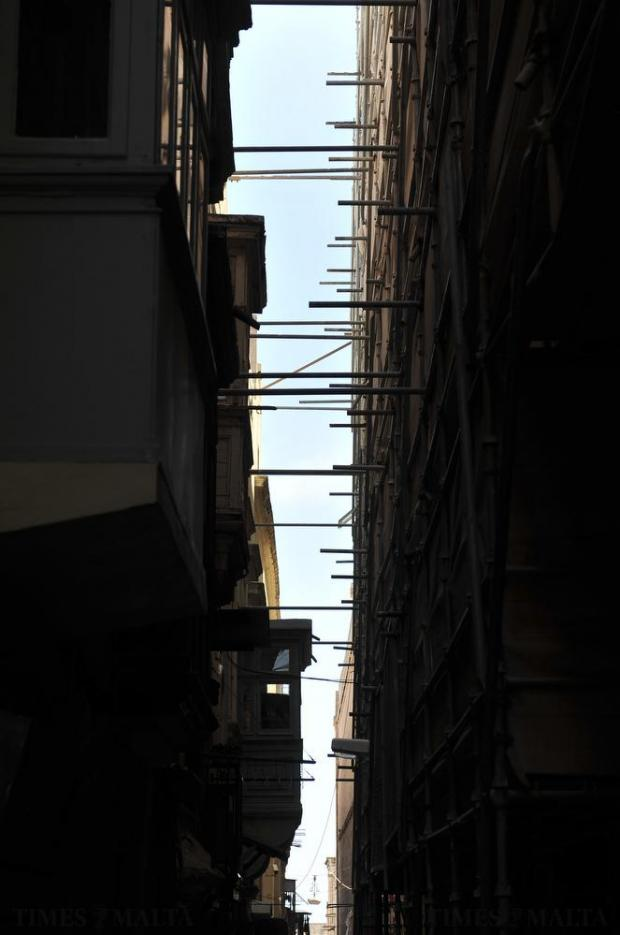 A gap between buildings in Strait Street Valletta on May 18. Photo: Chris Sant Fournier