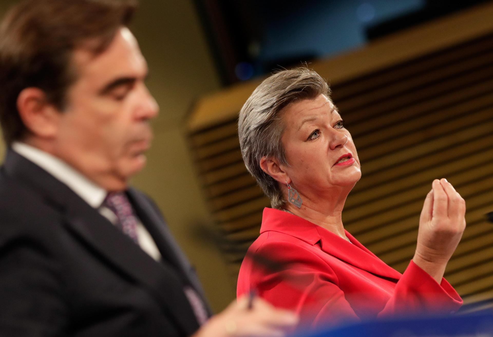 European Commissioner for Home Affairs Ylva Johansson (R) speaks as European Commissioner for Promoting our European Way of Life Margaritas Schinas (L) listens during a press conference on a New Pact for Migration and Asylum at the European Commission in Brussels on September 23, 2020. Photo: AFP