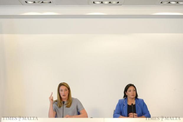 Roberta Metsola and Marthese Portelli address members of the press at PN Headquarters in Pieta on August 14. Photo: Matthew Mirabelli