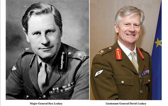 Lieutenant General David Leakey (right) and his father Major General Rea Leakey.