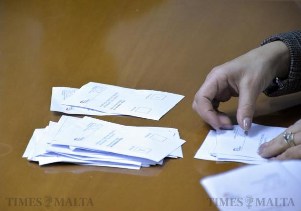 A Labour Party agent counts Konrad Mizzi's votes during the election for the party's deputy leader held at the party headquarters in Hamrun on 25 February. Photo: Mark Zammit Cordina