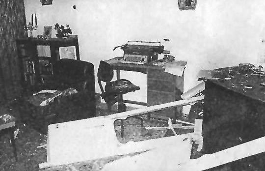 The wrecked interior of Fenech Adami's home in Birkirkara.