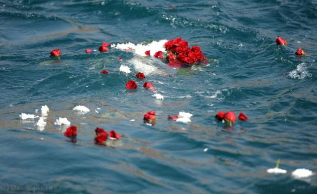 Flowers break apart after a wreath laying ceremony in the Grand Harbour to mark The Day of the Seafarer on June 25. Photo: Matthew Mirabelli