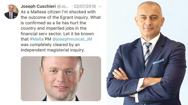 One of Joseph Cuschieri's recent tweets. Right: Joseph Cuschieri's total annual financial package could reach at least €138,000.