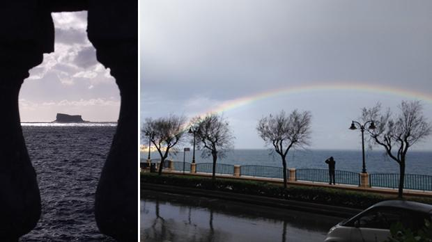 Filfla as seen through the balustrades of Żurrieq. Photo: Walter J Attard. Right: A rainbow seen off Sliema. Photo: Sandy Pace
