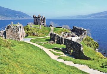Ruins of Urquhart Castle along Loch Ness.