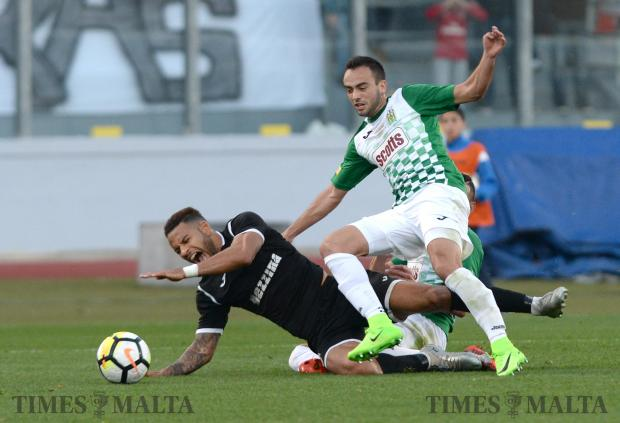 Hibernians Marcello Dias is brought down during the BOV Super Cup final match against Floriana at the National Stadium in Ta'Qali on December 13. Floriana won the match 1-0. Photo: Matthew Mirabelli