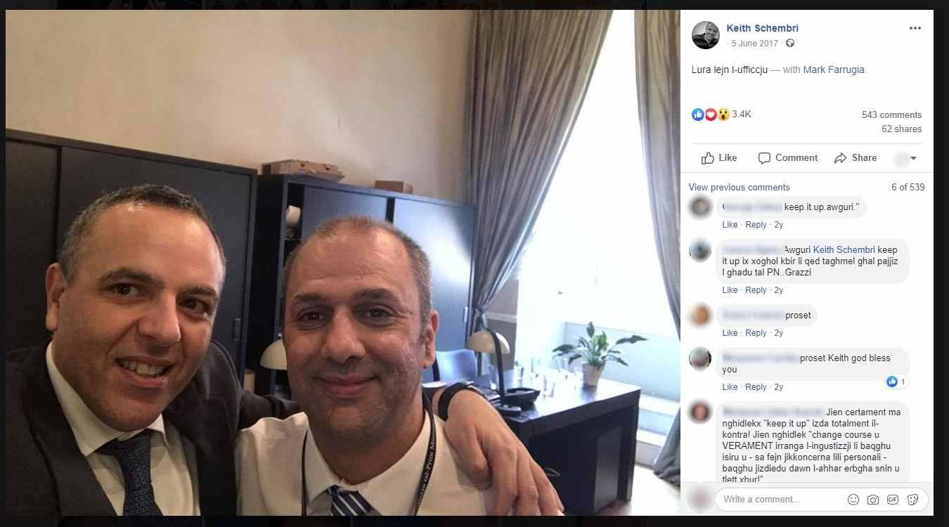 Keith Schembri with Mark Farrugia, who has replaced him as OPM chief of staff, following the 2017 general election victory. Photo: Facebook