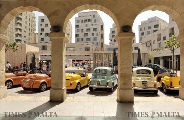 Fiat 500's are displayed at The Point on September 17. Photo: Chris Sant Fournier