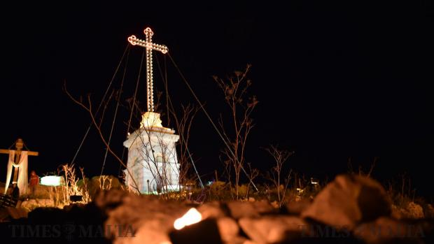 The Laferla cross at Girgenti is lit up during Maundy Thursday on March 29. Photo: Mark Zammit Cordina