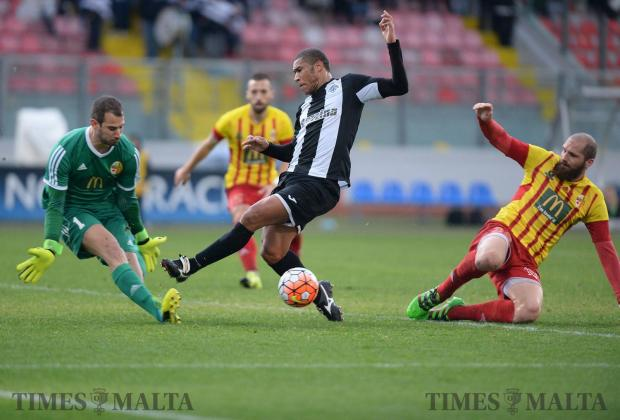 Hibernians striker Jorginho fails to make contact with the ball just in front of Birkirkara goalkeeper Henry Bonello at the National Stadium in Ta' Qali on January 29. Photo: Matthew Mirabelli