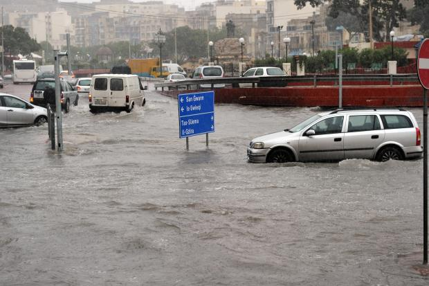 Low-lying Msida is prone to flooding.