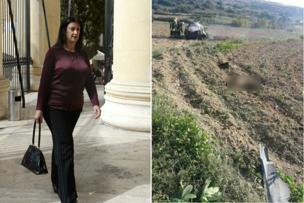 Journalist Daphne Caruana Galizia (left) and firefighters surveying the car wreck in Bidnija this afternoon (right).