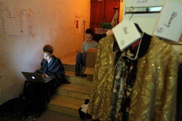 Models relax backstage before the Pink Fashion Show at the Manoel Theatre in Valletta on November 15. Photo: Darrin Zammit Lupi