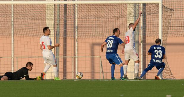 Irakli Dzaria (no.33) scores FK Kukes's equaliser to send the Albanian side through. Photo: Matthew Mirabelli