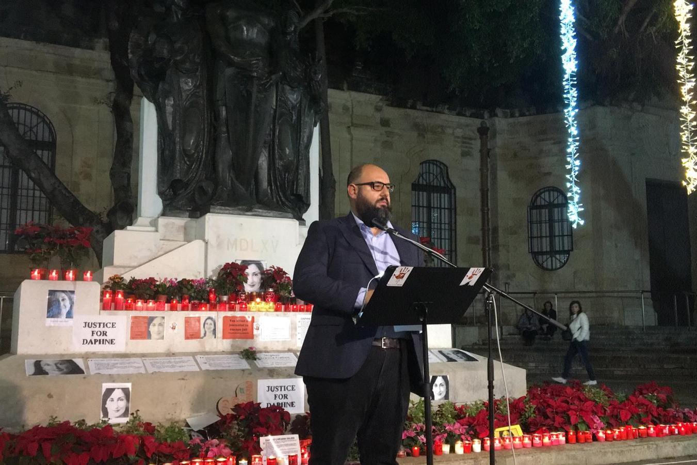 Manuel Delia speaking at the vigil.