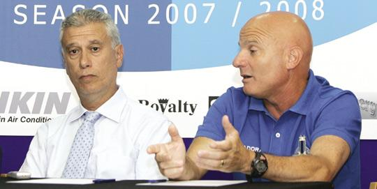 Ex-Sliema coach Ray Farrugia (right) with club president Robert Arrigo in a pre-season function.