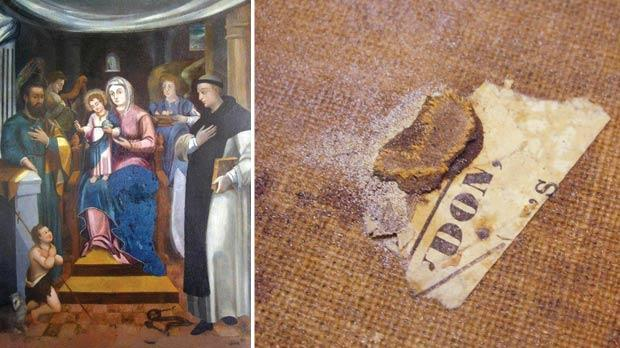 The restored titular painting of Our Lady of Graces. Photos: Michael Buhagiar, Art Restoration (Qormi), Carmel Bonavia. Right: Pieces of old newspapers used in a previous restoration.