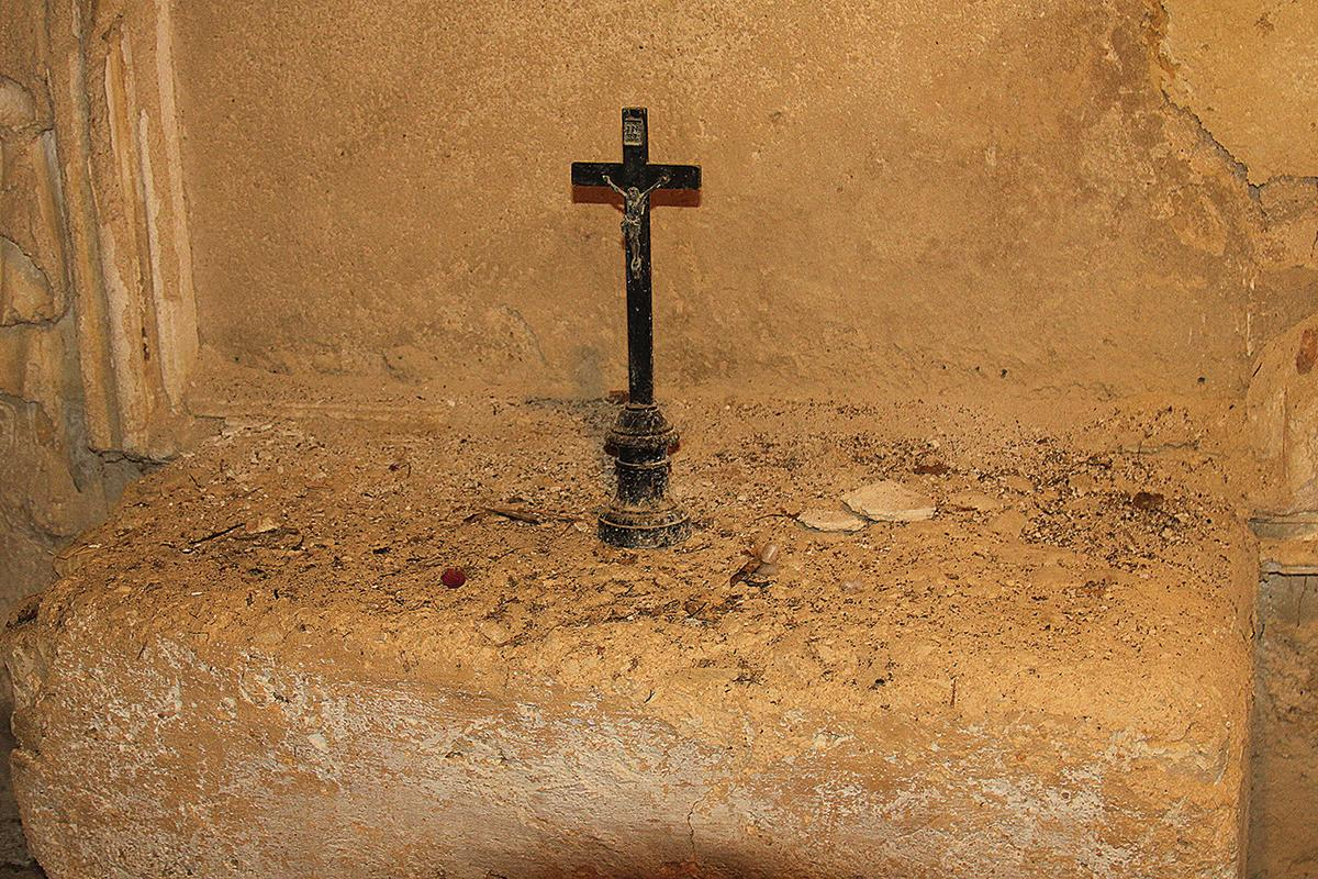 A crucifix in a part of the chapel.