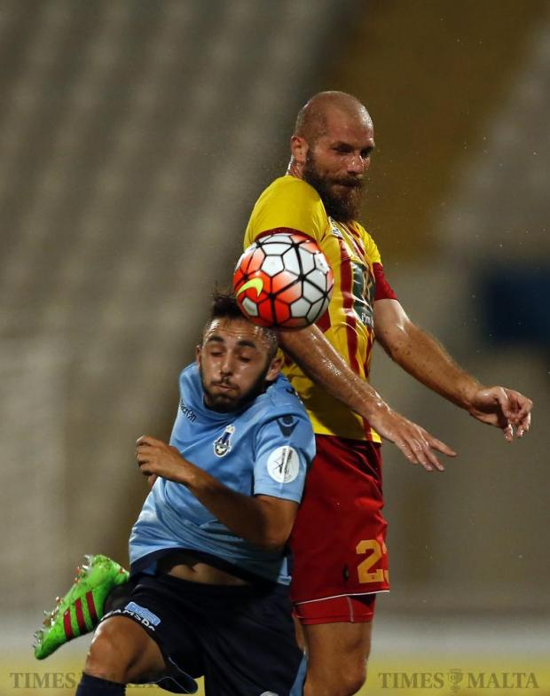 Sliema Wanderers' Aidan Friggieri (front) and Birkirkara's Predrag Jovic fight for the ball during their Premier League football match at the National Stadium in Ta' Qali on September 18. Photo: Darrin Zammit Lupi