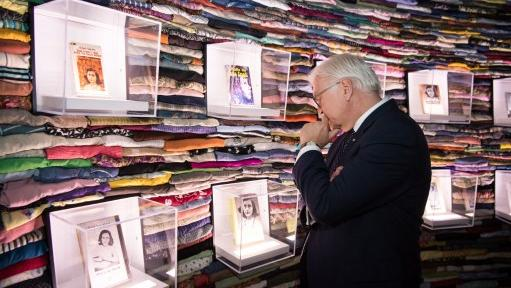 German President Frank-Walter Steinmeier looking at an Anne-Frank exhibition in the Museum of Tolerance in the Simon Wiesenthal Centre. AFP file photo