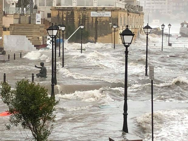 Wild seas made for an almost unrecognisable promenade at Spinola. Photo: Dominic Fenech