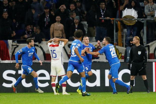 Hoffenheim celebrate their late equaliser against Lyon