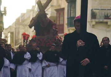 Desperate times call for desperate measures. Gozo Bishop Mario Grech yesterday led a penitential pilgrimage in Qala to pray for rain. Photo: Steve Zammit Lupi