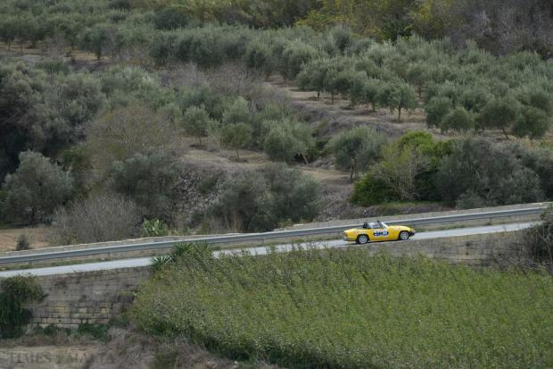 One of the cars participating in the Mdina Grand Prix Classic Car event makes his way up to Mdina to complete his run on October 10. Photo: Matthew Mirabelli