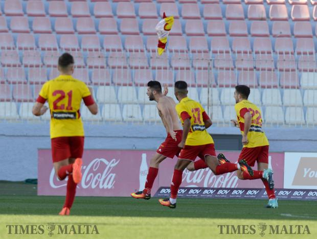 Birkirkara's Luke Montebello celebrates after scoring a goal in the closing minutes of their BOV Premier League match against Hamrun at the National Stadium in Ta'Qali on December 9. Photo: Matthew Mirabelli