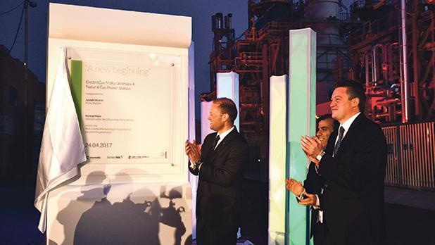 Joseph Muscat and Konrad Mizzi at the opening of the new power station. Photo: Jonathan Borg