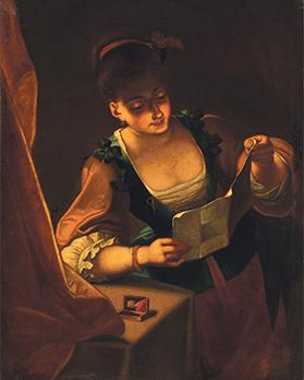 Woman reading a love letter, Oil on canvas, Anonymous, Late 18th century., 96 x 72, Casa Rocca Piccola Trust Collection.
