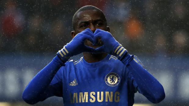 Chelsea's Ramires celebrates his goal against Wigan Athletic.