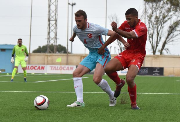 Kyrian Nwoko in action for Malta U-21 against Turkey. Photo: Mark Zammit Cordina