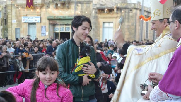 Blessing of pets at the feast of St Anthony the Abbot in Xagħra. Photo: Lawrence Camilleri